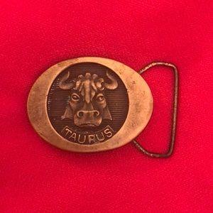 Metal vintage belt buckle. Taurus. Collectibles.